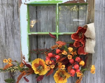 Antique Window with Fall Floral and Berries