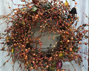 Fall Wreath - Grapevine Wreath--Pip Berry Wreath--Fall Mixed Berry Wreath-Fall Wreath with Mixed Berries and Floral--Free Shipping