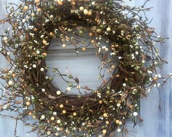 Primitive Wreath with Green, Cream and Light Orange Berries