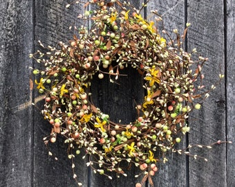 Grapevine Wreath with Spring Pip Berries and Forsythia