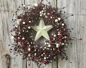 Patriotic Wreath with Red, White and Blue Pip Berries and Barn Star Center,Americana Wreath,July 4th Wreath,Primitive Wreath,Free Shipping