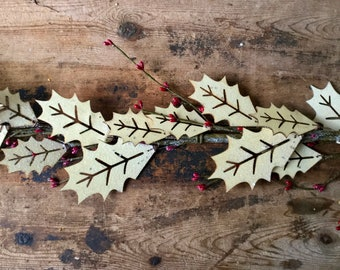 Christmas Garland with Ivory Holly Leaves and Red Berries