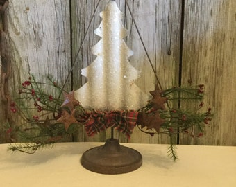 White Metal Christmas Tree with Feather Pine and Red Berries