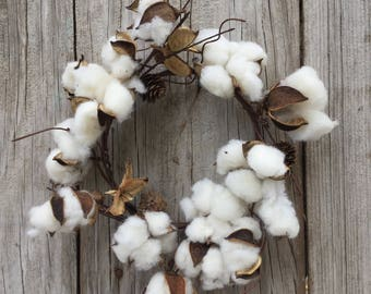 Cotton Candle Ring, Cotton Wreath, Farmhouse Decor, Cotton Boll Wreath, Rustic Wreath, Cotton Decor, Primitive Candle Ring, Free Shipping