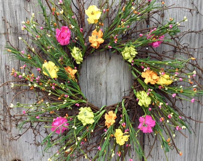 Featured listing image: Twig Wreath with Summer Flowers and Pip Berries