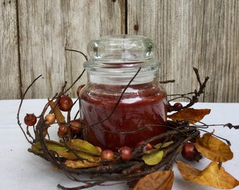 Primitive Fall Candle Ring with Primitive Berries, Stems and Leaves,