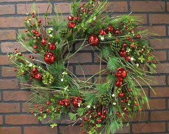 Holiday Pine Wreath with Red Jingle Bells, Pines Cones and Pip Berries