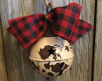 Rustic  Bell with Gingham Bow