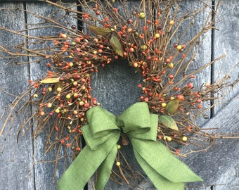 Twig Wreath with Pip Berries, Leaves and Mini Pine Cones