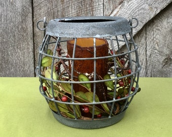 Metal Basket with Timer Pillar Candle and Pip Berry Candle Ring-Weathered Zinc Basket with Candle and Pip Berries -Spring Basket with Candle