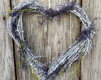 Distressed White Twig Heart Wreath