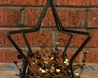 Wrought Iron Star Candle Holder with Pip Berry Candle Ring and Flameless Tea Light Candle