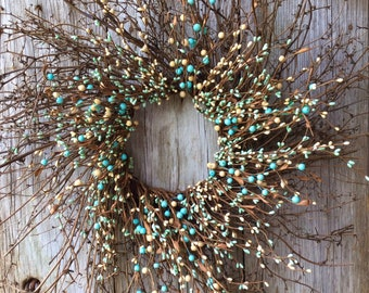 Twig Sunburst Wreath with Light Teal Cream Pip Berries