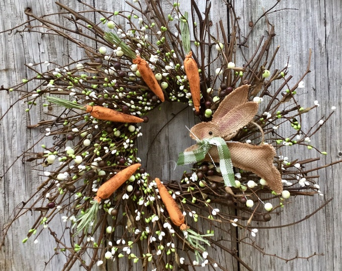 Featured listing image: Easter Pip Berry Wreath with Bunny and Carrots