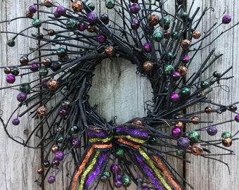 Halloween Twig Wreath with Glitter Berries