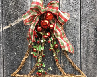 Holiday Bell with Pip Berries and Red Jingle Bells