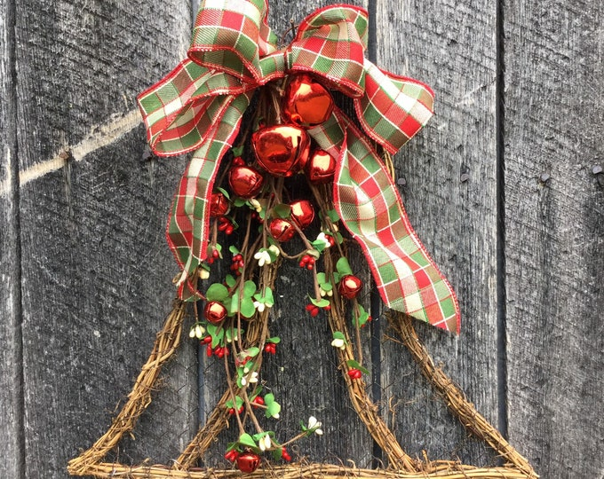 Featured listing image: Holiday Bell with Pip Berries and Red Jingle Bells