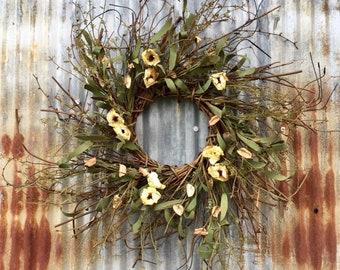 Cotton Pod Wreath with Asakura Flowers