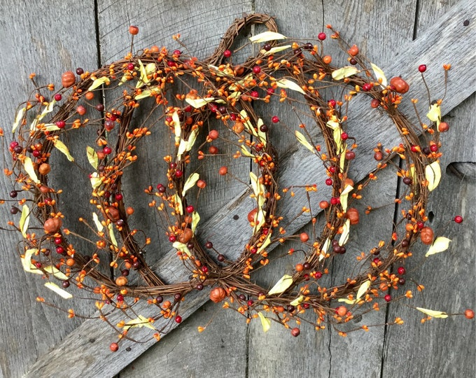 Featured listing image: Grapevine and Twig Pumpkin with Orange Pip Berries and Mini Pumpkins