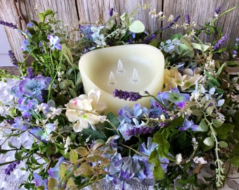 Hydrangea Centerpiece with 3 Wick Flameless Candle