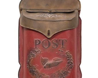 Distressed Red and Rust Metal Post Box
