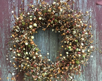 Fall Wreath with Green, Brown, Yellow, Cream and Orange Pip Berries