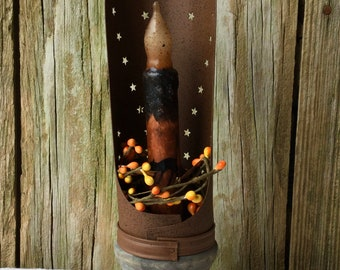 Primitive Punched Tin Taper Holder with Halloween Taper Candle