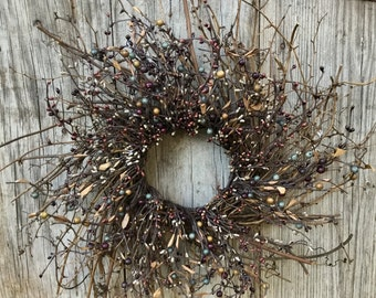 Twig Wreath with Plum, Blue and Brown Pip Berries