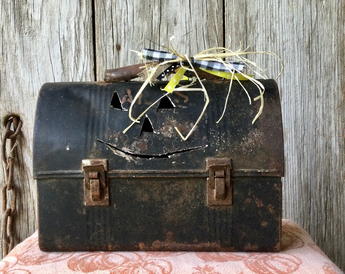 Featured listing image: Vintage Black Metal Lunch Box with Pumpkin Face