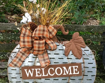 Standing Metal Pumpkin Sign with Cotton Floral Arrangement