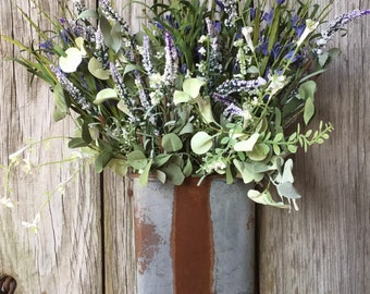 Rustic Metal Wall Bucket with Purple and Cream Flowers