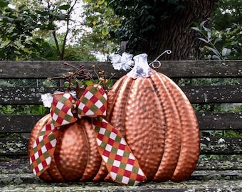 Hanging Metal Pumkin with Pip Berries and Fall Bow