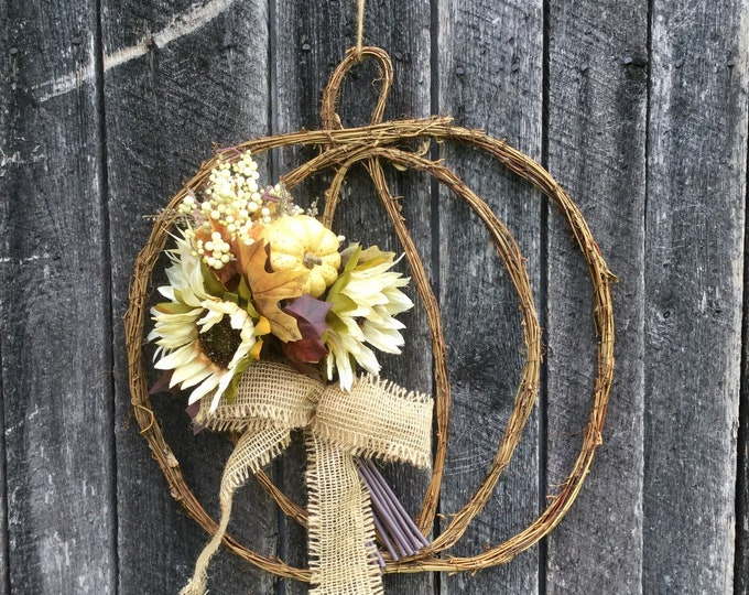 Featured listing image: Fall Grapevine Pumpkin Wreath with Sunflower Bouquet