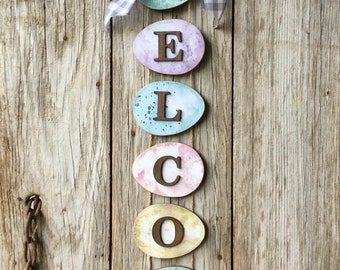 Easter Egg Welcome Sign, Spring Welcome Sign, Easter Decor, Easter Egg,  Spring Decor, Easter Egg Decor