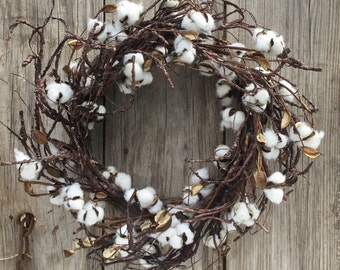 Farmhouse Cotton Boll Wreath