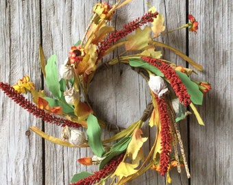 Fall Candle Ring with Mini Sunflowers, Seed Pods and Falll Foliage