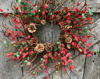 Christmas Boxwood Wreath with Mini Pine Cones