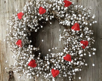 Valentines Wreath with White Pip  Berries and Red Felt Hearts