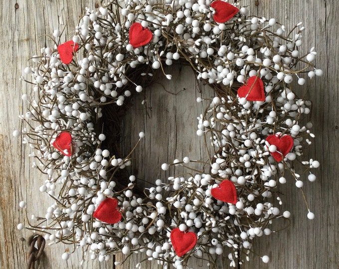 Featured listing image: Valentines Wreath with White Pip  Berries and Red Felt Hearts