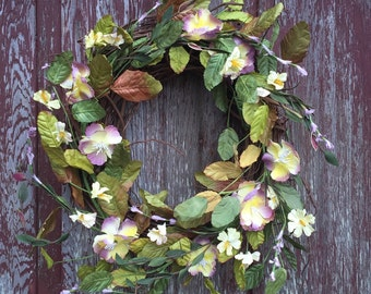 Grapevine Wreath with Purple and Yellow Flowers