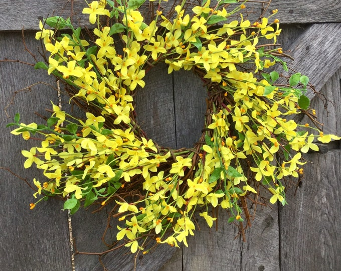 Featured listing image: Spring Forsythia and Pip Berry Wreath