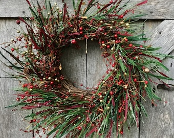 Christmas Wreath with Red & Gold Pip Berries and Icy Pine Stems