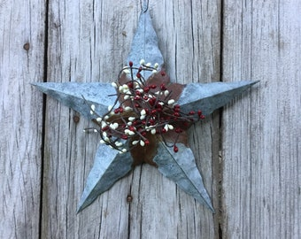 Galvanized Barn Star with Red and Cream Pip Berries
