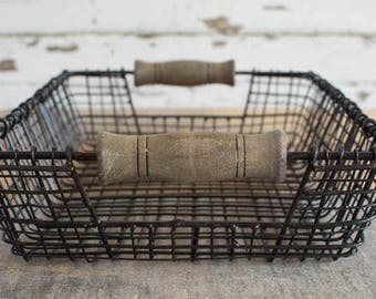 Iron and Wood Rectangular Baskets in Antique Copper Finish