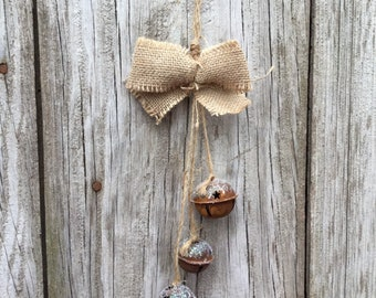 Rusty Jingle Bell Door Hanger with Holiday Ribbon