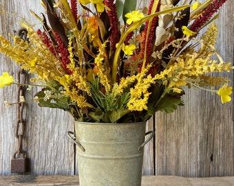 Fall Flower Arrangement in Galvanized Bucket