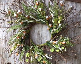 Twig Cotton Wreath with Citron Berries