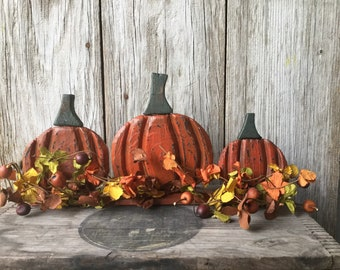 Wood Pumpkins and Berries Centerpiece