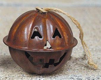Rusty Jingle Bell Jack-O Lantern Ornament