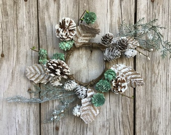 Snowy Pine Cone and Burlap Leaf Candle Ring